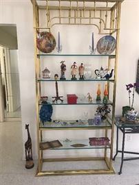 Pair of Mid-Century Modern Brass and Glass Etergeres