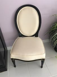 Hollywood Regency Pair of Slipper Chairs -Cream Silk Upholstered with a Black Frame