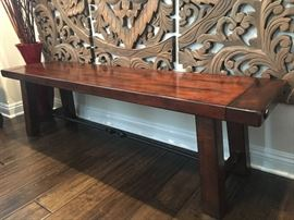 solid wood mahogany bench
