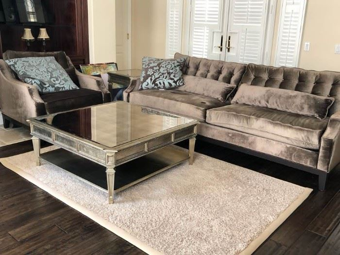 "Hoolywood Regency Style Contemporary sofa set.     (bought from ""Z   Gallerie"")                                                                                - sofa, arm chair, coffee table, side table                                              Excellent Condition"