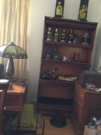 ''U''  Barristers Bookcase, slag glass lamp
