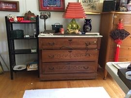 ''U''  Marble top Chest, 50's lamp with accordian shade, maple chest, oak shelf