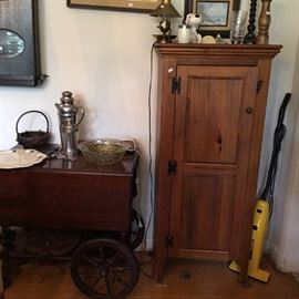 ''U''  Tea Cart, Pine Storage Cabinet