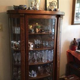 ''U''  Curve glass Oak China Cabinet