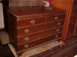 5 drawer mahogany low chest.