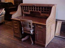 Antique oak roll top desk & chair