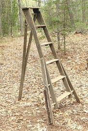 """Unique, Rare 1900's Wood """"A-Frame"""" 3-Leg Ladder"""