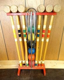 Colorful, Complete & Whole Maine Made Vintage Croquet Set ...