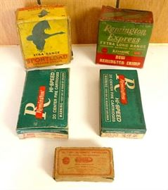 Vintage Ammo Boxes - Most w/ Some Cartridges, Incl. 30-30 Win., 7-MM Win., .32 C.F.,  12 Ga. Shells & Slugs