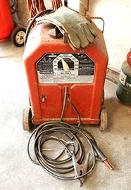 Working Lincoln AC-225-S Arc Welder W Cables, Leather Gloves & Lincoln Welder's Helmet