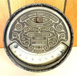 "A 2nd ""Ft. Wayne Electric Works"" Gauge W/ Embossed Case, aka ""Wood Volt Meter"""