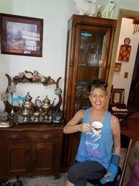 Beautiful dresser, tea service and curio cabinet