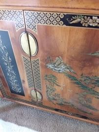 Stunning! Asian Motif china cabinet with brass accents by Lane