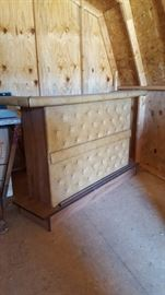 Padded bar with two matching bar stools