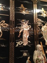 Beautifully detailed Mother-of-Pearl 4-panel screen