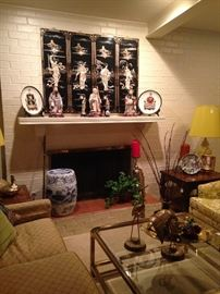 Numerous Asian selections - Mother-of-Pearl 4-panel screen, plates, statues, etc.