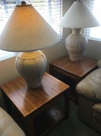 (2) Matching Oak End Tables / Pottery Style Lamps