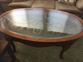 Oval Etched Coffee table