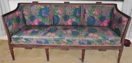 Upholstered settee,  walnut, late 19th/early 20th century