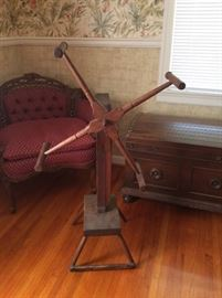 Antique Yarn Winder.  Seller selling all her yarn, raw cotton, combs etc.