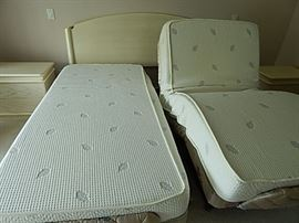 Twin Adjustable  Mattresses with King Headboard and 2 Night Stands