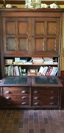 Mahogany Drop Front Cabinet w/Southern Bonnet top {Purchased from the Charity Hospital on Tulane in New Orleans}    Mahogany front and Cypress interior