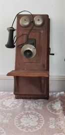 Oak Crank Telephone.  with original interior