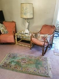 MCM Vintage Rattan Lounge Chairs, rattan &  glass table, Large vintage Sculptural Diana  Lamp with period Shade, Antique Asian rug