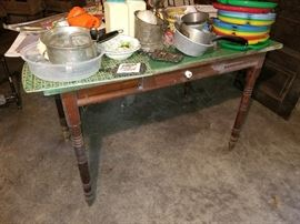 antique Work/Harvest table, old green painted top spindle or turned legs