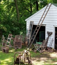 Antique wood extension ladders, folding ladders, Architectural finds, oLD Mortise Sign post, antique Iron single sz Tuxedo bedframe, Tools, Tools, Old shutters and screens, directors chair...YOU GET THE POINT...RIGHT??
