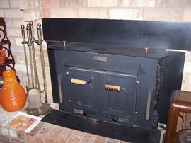 """Buck Stove"" fire place insert, fire place tools"
