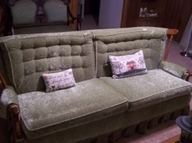 green velvet couch, same color as chair