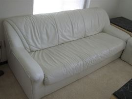 Nicoletti Italian White Leather Modern Sofa