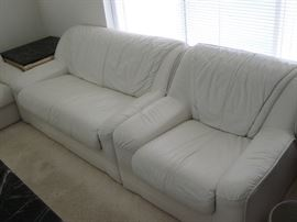 Nicoletti Italian White Leather Modern Love Seat and Chair