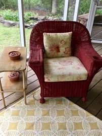 Two darling red wicker chairs in this sale