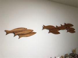 """Clark Voorhees a listed Danish Modern artist. """"School of Fish-Wall"""" Zebra wood.  Vintage. This artist is known for his Sperm Whale carving. Fish art teak. Google this artist or look him up on askart.net or artnet.com"""