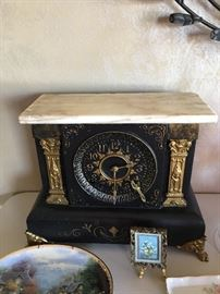 Miniature oil painting.  Grandparents Mantle Clock Wedding present from 1895 .  Thomas Kincaide plate.