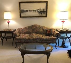 Living room furniture, 20s Sofa ($350), glass top coffee table ($75), and (2) 20's end tables.