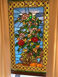 """2 Stained glass panels - 37.5"""" x 23 - $350 for pair"""