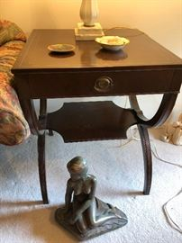 (2) 20s End tables ($175/each) and small mermaid statue ($75)