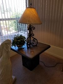 Custom made lamp table with matching coffee table.