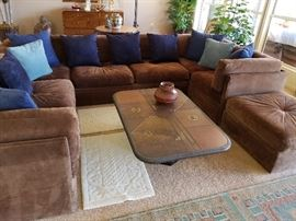 Suede leather sectional