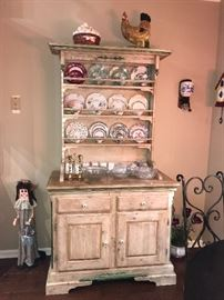Antique china trio sets, distressed kitchen cabinet