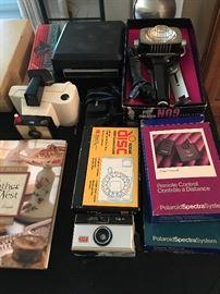 Vintage cameras & heat lamp