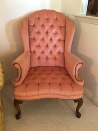 Salmon tone velvet wingback chair