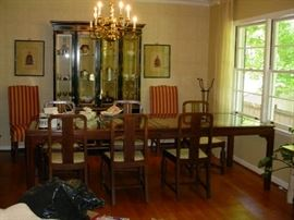 Beautiful large dining table with wood and glass top, and 6 chairs, plus two upholstered side chairs