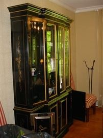 Large Oriental style china cabinet, with light glass shelvesd