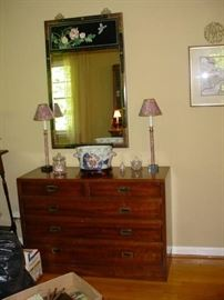 Very nice old 5 drawer chest, with Oriental mirror, and other side lamps
