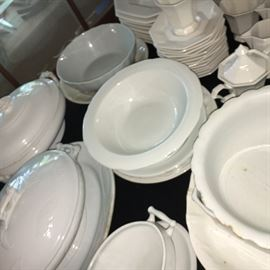 White out! Nice collection of vintage and antique white ironstone china--perfect farmhouse decor.