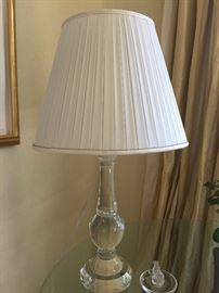 "3. Glass Table Lamp w/ Pleated Silk Shade (28"")"